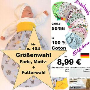 ELFIBON ÖKO Tiere Schlafsack Gr 50-104 BW Baby Pucksack, Swaddle Sommer + Winter
