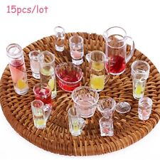 1 12 Scale Doll House Tableware 15pcs/set Goblets Mini Dish Cups Plates