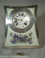 Antique Sterling Silver Enamel Watch Holder & Watch