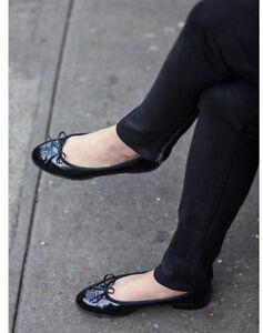 New CHANEL CC Classic Bow Black Patent Leather Cap Ballet Ballerina Flats Shoe