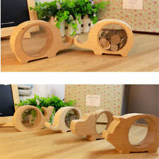 Kids Wooden Piggy Bank Lovely Animal Coin Money Saving Box Container Table Decor