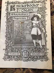 1897 The Knickerbocker Theatre Broadway Program An American Citizen N C Goodwin