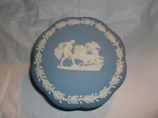 "Wedgwood Jasperware Large 5"" Lidded Trinket Box ""Angel on charior "" Blue & White"