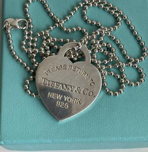 Collana a palline Tiffany e Co Originale argento   Con Cuore XL
