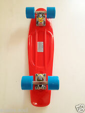 Mini Cruiser Skateboard,banana board,old school 70s,retro-RED DECK/BLUE WHEELS
