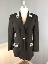 Vintage Escada Margaretha Ley 38 M 8 Black Button Blazer Jacket 1980's wool