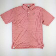Mens Peter Millar Hartford Golf Club Sz XL Pink Red Pin Stripe Polo Rugby NICE