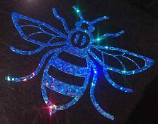 Manchester Bee car van window sticker decal vinyl Light blue glitter rainbow
