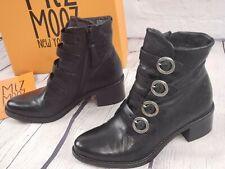 NIB - Miz Mooz Leather Buckle Ankle Boots - Fawn - Smoke - EU 37 US 6.5 -  7