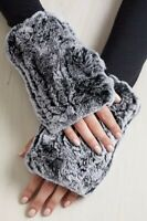Women Real Knit Rex Rabbit Fur Fingerless String Gloves Mittens Xmas Gift Warm