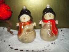 Vintage Snowmen Salt and Pepper Shakers with Birds in Their Hats - Unique