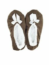 Womens Skidders Sherpa Lined & Sole Grips House Shoe Slippers Brown S/M