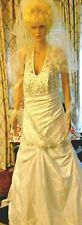 A21 341 VNTG Sz16 Halter Trumpet Princess Wedding Dress Bridal Gown Veil & Heels