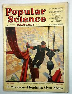 Popular Science Monthly Nov. 1925, Ironworkers & Houdini Story, Cover by Murch