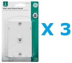 GE PhoneJack Wall Mount phone Outlet 6-Wire Conductor RJ11 RJ12 White- Pack of 3