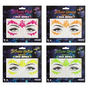 Neon UV Face Jewels by Moon Glow - Festival Face Body Gems, Crystal Make up