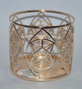 Neu Bath & Body Works Gold Geo Stern Groß 3 Docht Kerzenständer Ärmel 429ml