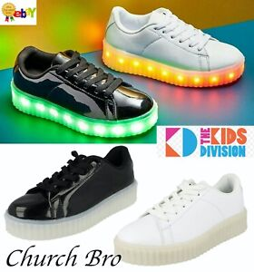 New The Kids Division Light Up Unisex Creeper Faux Leather Trainers LED Sneakers