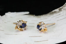 Solid 14K Yellow Gold Genuine Sapphire & Natural Diamond Earrings 1.3 Grams