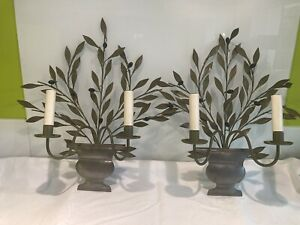 """Pair Vintage French """"Henri Pouenat"""" Toleware Olive Branch Urn Wall Lights,sconce"""