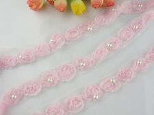 """3/4""""*1yard delicate pink 3D flower lace trim for DIY sewing fabric with pearl"""