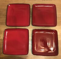 "SET OF 4 - HOME TRENDS - RAVE RED 10 3/4"" SQUARE DINNER PLATES - BLACK TRIM"