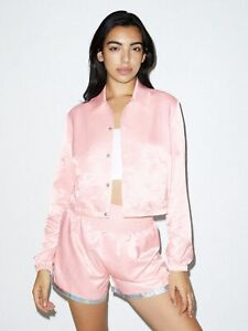 American Apparel Women's Fly Satin Cropped Coach Jacket- Light Pink, Large