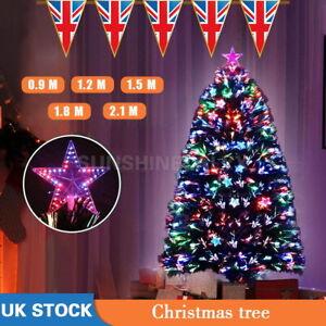 LED Fibre Optic Christmas Tree Pre Lit Xmas Lights up Home Decorations 6/7FT UK