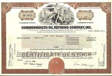 Stock certificate Commonwealth Oil Refining Inc., Puerto Rico 1980's