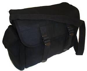 LARGE MILITARY MESSENGER BAG Heavy duty satchel SAS black canvas haversack
