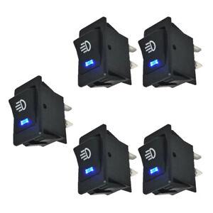 5x Car Accessories Fog Light Rocker Toggle Switch Blue LED Dashboard Sales Kits