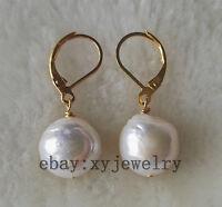 beautiful cultured 10-11mm white Edison Baroque fresh water pearl earrings