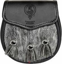 Campbell of Possil Sporran Fur Plain Leather Flap Clan Crest