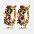 1 Pair Fashion Women gold Elegant Crystal Rhinestone beaded Ear Stud Earrings