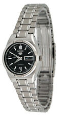 Seiko 5 SYM607 Women's Stainless Steel Black Dial Day Date Automatic Watch