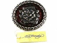 Rose Silvertone Red Rhinestones Belt Buckle By ED HARDY 33116a w/ Tag