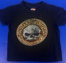 Youth Boys XS Harley Davidson T-Shirt Black Hawkeye Coralville Iowa Skull