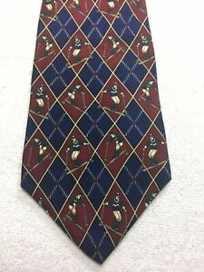 TOMMY HILFIGER MENS TIE RED AND BLUE SKIERS 4 X 59