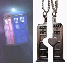 Pair Doctor Who Valentine Tardis Silver Pendants His Hers Love Christmas Xmas