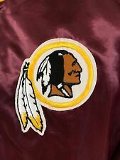 VTG Washington Redskins Satin Jacket NFL Snap Up Coat Chalk Line Medium