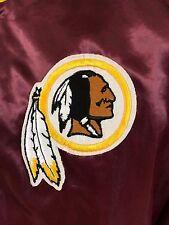 VTG Washington Redskins Satin Jacket NFL Snap Up Coat Chalk Line Medium