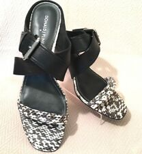 Donald J Pliner Mora Sandal Snake Print Black/White Leather Shoe Womens Size 9