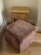 Luxury Alma Suede Leather Brown Heal's Foot Stool Rest Chair Cube 55x55x40cm