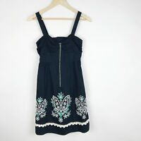 97359539f07d Anthropologie Floreat Dress Embroidered Eyelet Navy Green Zip Front Size 2