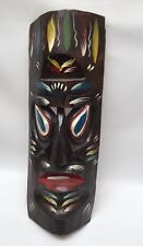 Vintage Large Tiki Room Bar Polynesian Wood Wall Mask Retro Hawaiian Ku God 24""