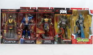 Lot 5 McFarlane Action Figures Mortal Kombat Scorpion Cage Doom Mandarin Spawn