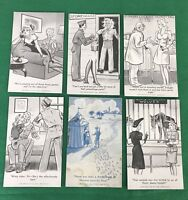 vintage lot of 6 - 1944 WWII MILITARY Army COMIC, EX SUP CO  Cards Postcards