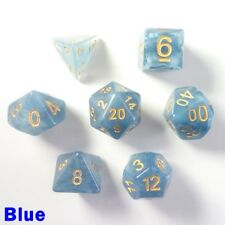 Jade Poly 7 Dice RPG Set Blue Gold Dungeons Dragons D&D Pathfinder Role Play HD