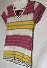US Polo Assn women top Large shirt Vneck Short Sleeve tee striped