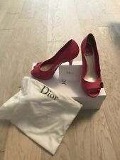 Christian Dior Pink Patent Leather Peep Toe Platform Pumps 37.5 100% Authentic